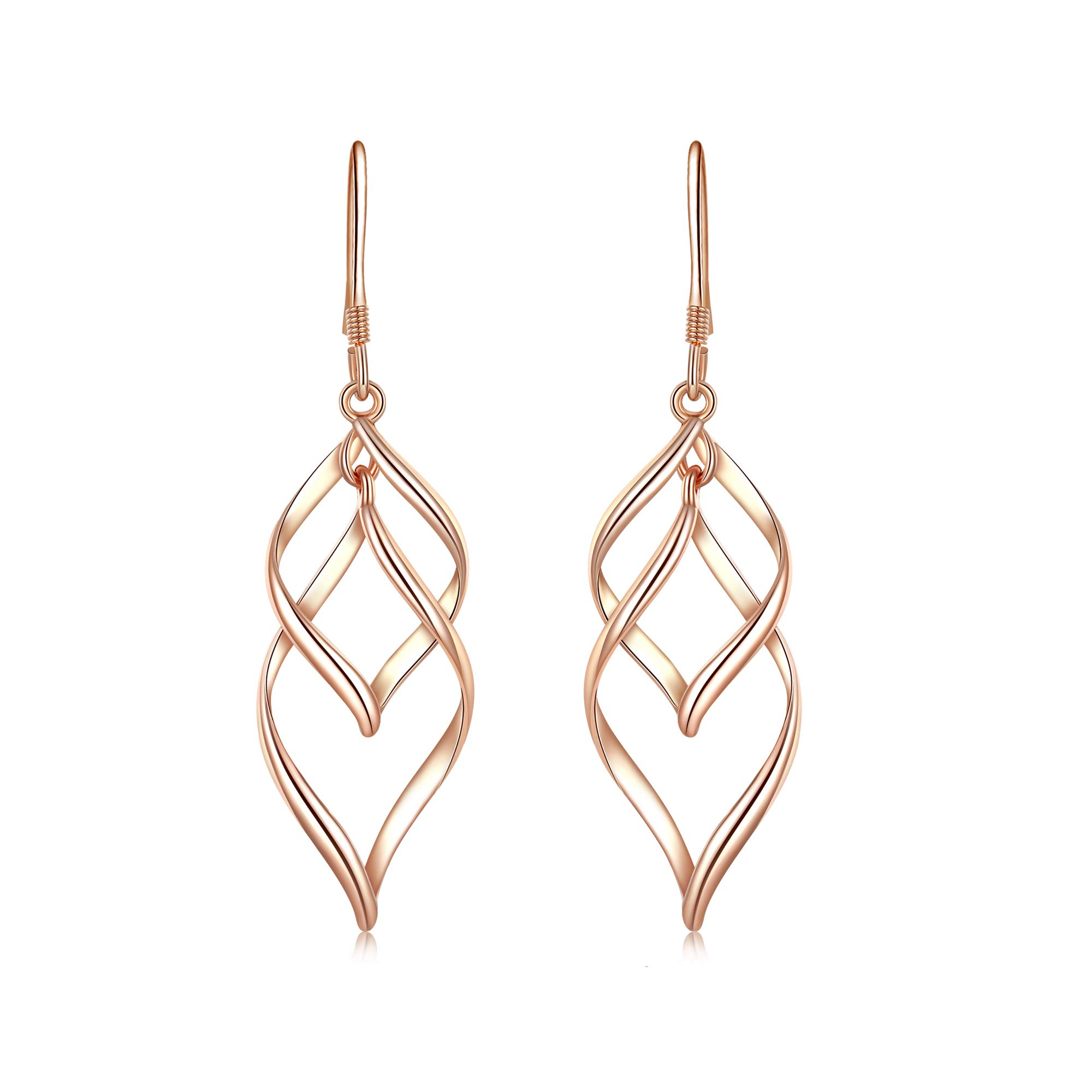 Desimtion Rose Gold Plated Classic Twist Wave Hypoallergenic Earrings,Sterling Silver Post Dangle Earrings for Women by DESIMTION