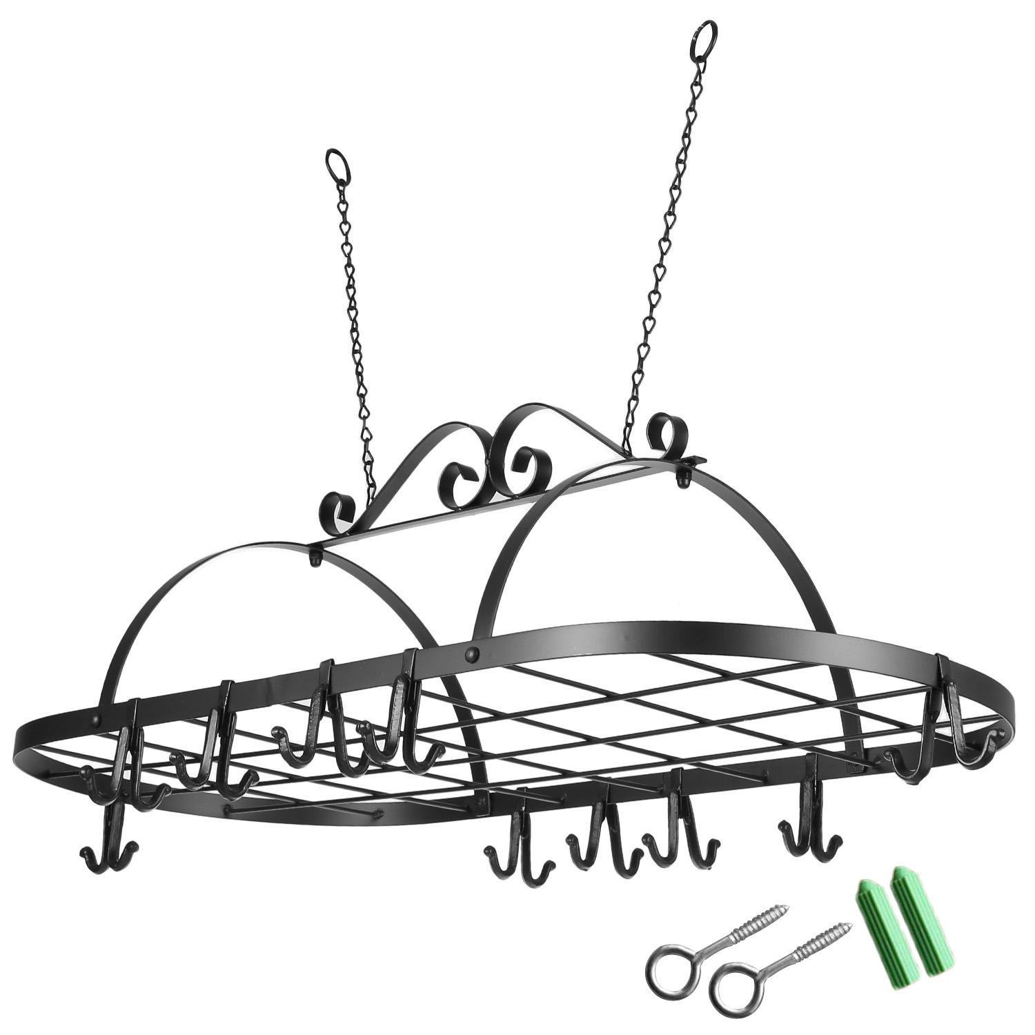 Pot Rack Hanger, Iron Pan Rack with 10 Hooks - Wall Hanger or Ceiling Mounted