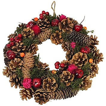 Image Christmas Wreath.Clare Florist 30cm Very Berry Christmas Wreath Festive Display With Pine Cones