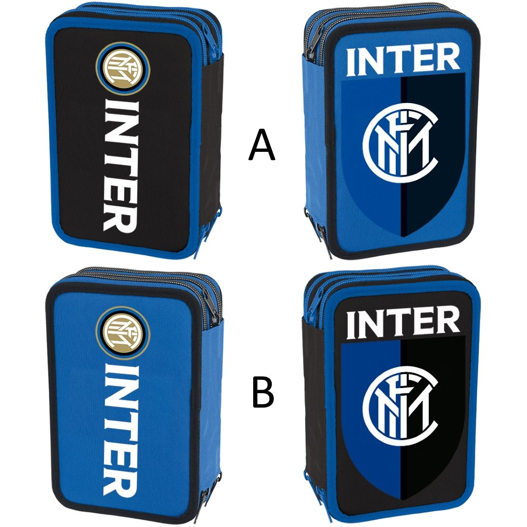 Astuccio completo triplo scomparto Fc Inter 20x6x12,5 cm cm cm Nero e azzurro a48fcc