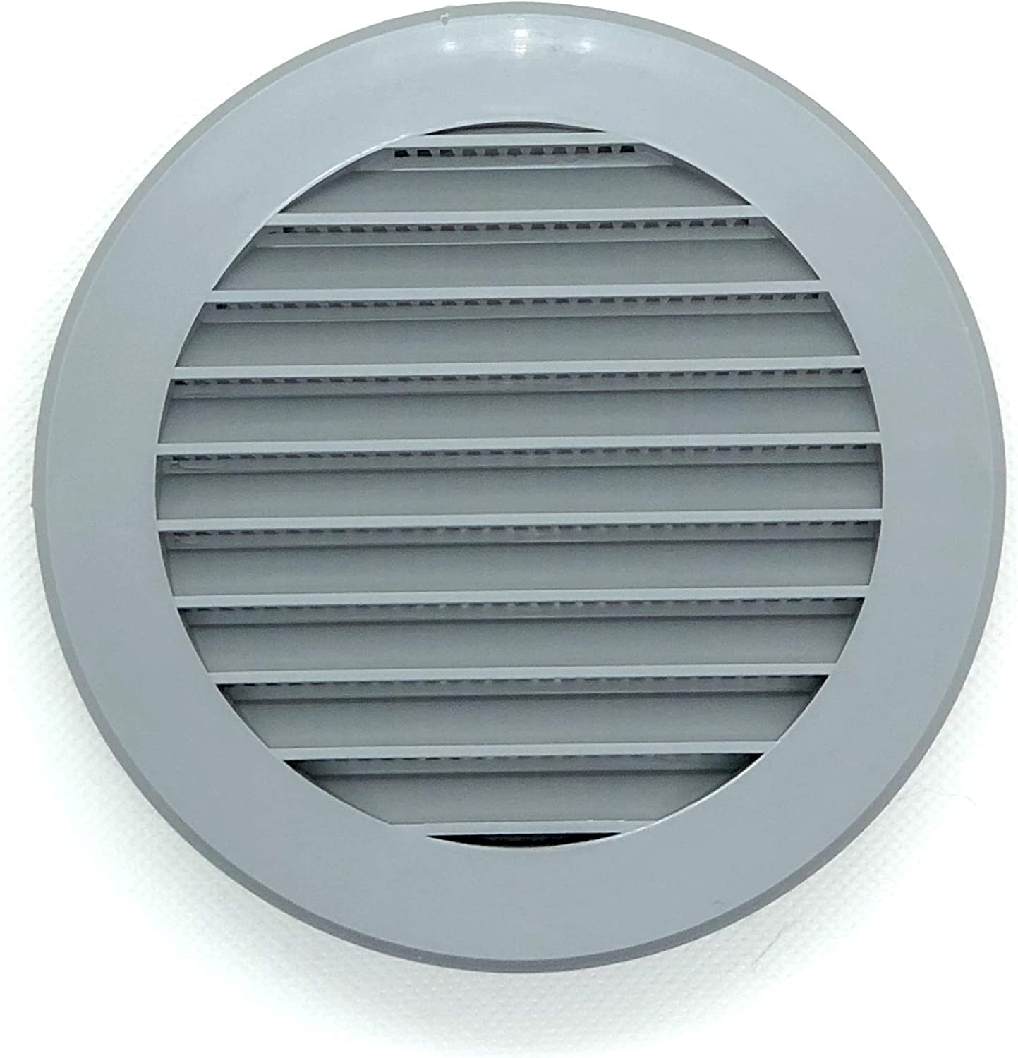 Vent Cover - Round Soffit Vent - Air Vent Louver - Grille Cover - Built-in Fly Screen Mesh - HVAC Ventilation (4'' Inch, Plastic - Grey)