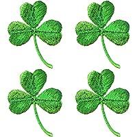 Amosfun 4pcs Shamrock Iron on Embroidered Patches St Patrick's Day Irish Accessories