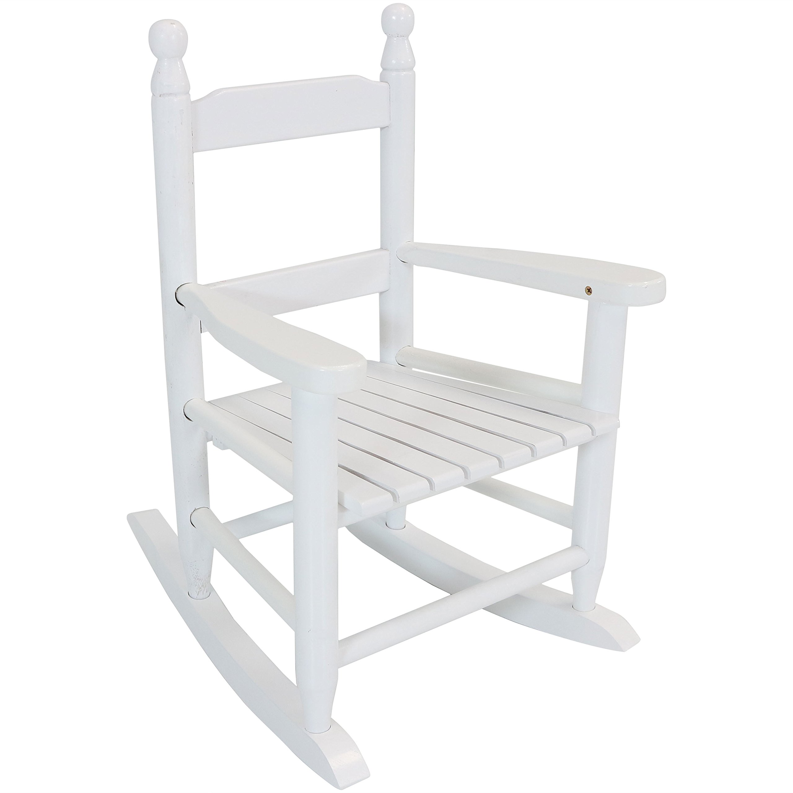 Sunnydaze Toddler Modern Wooden Rocking Chair with Non-Toxic Paint Finish, Fits Most Children Under 3 Feet Tall, White