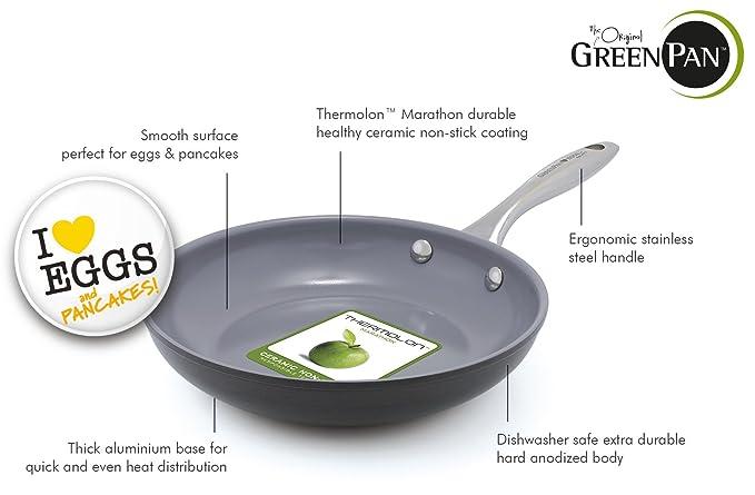 GreenPan CW000404 - 002 Me encantan los huevos y tortitas abierto sartén, 20 cm, interior gris: Amazon.es: Hogar