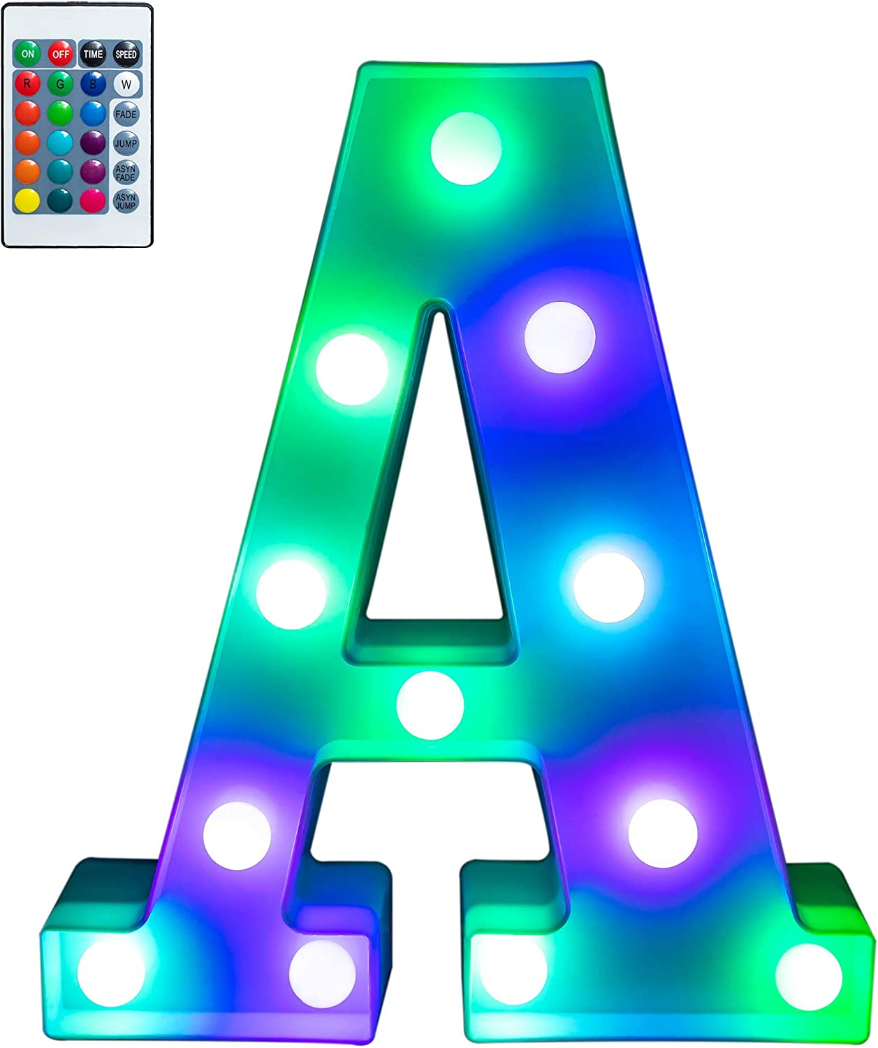 Foaky Colorful LED Letter Lights with Remote, Light Up Letters Sign for Night Light Wedding/Birthday Party Battery Powered Christmas Lamp Home Bar Decoration(A)