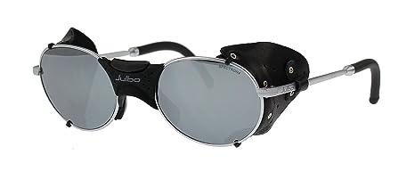 Gafas de sol Julbo Drus - Plata - Negro cuero desmontable Protectores Laterales - Lentes de policarbonato
