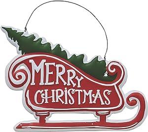 Col House Designs Merry Christmas Metal Sleigh Sign - Christmas Wall Decor - Christmas Hanging Sign - Holiday Decor
