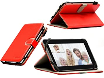 super popular 7f76f 7f124 Navitech Faux leather case / cover with stand function for the Medion  Lifetab E7310 7 inch (As sold in Asda) (Medion Lifetab E7310, Red Atlas 360)