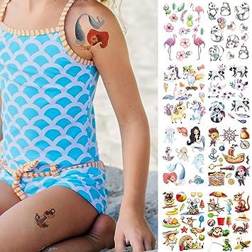 CARGEN 8 Hojas Tatuaje Temporal De Dibujos Animados Coloridos Para ...