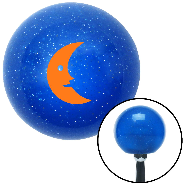 Orange Crescent Moon Smiling American Shifter 20206 Blue Metal Flake Shift Knob