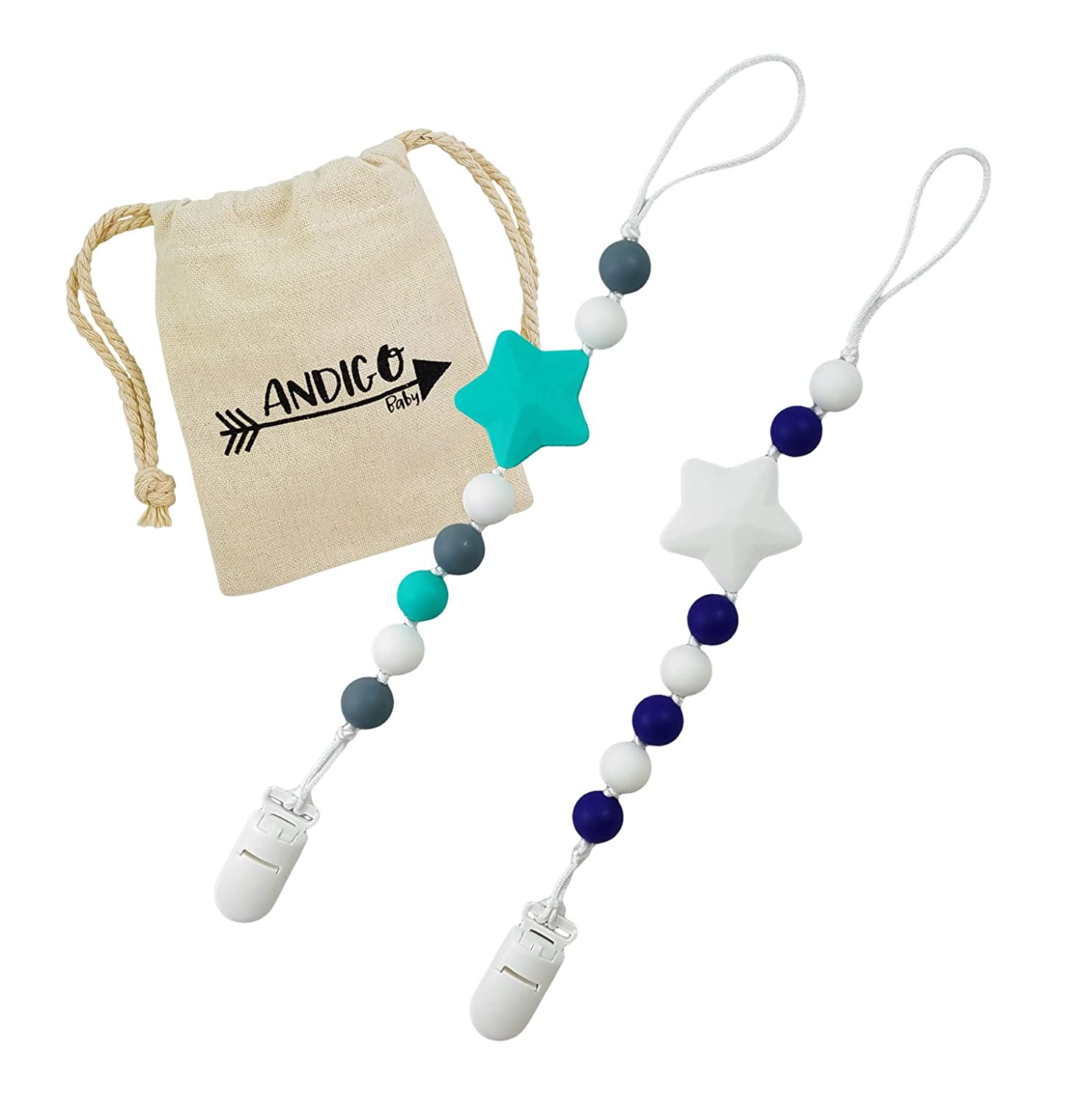 Pacifier Clip Holder - 2 in 1 - with Silicone Teething Beads, for Girls, Boys, Unisex, Set of Two, Compatible with MAM, Soothie, NUK, Tommee Tippee and Other Pacifiers - Navy/Turquoise ANDIGO