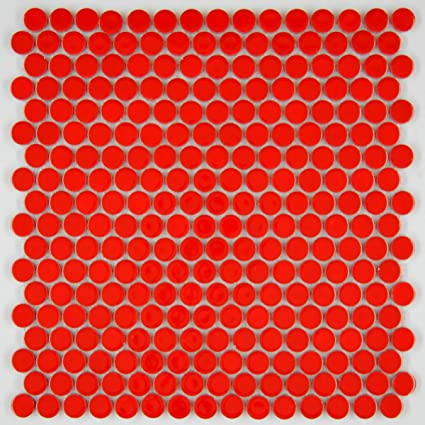 Vogue Tile Penny Round Vintage Red Porcelain Mosaic For Bathroom