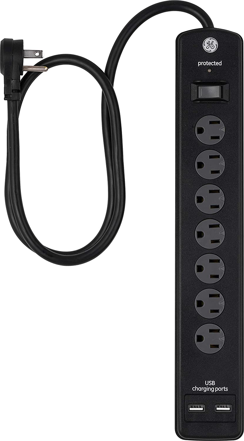 GE 7 Strip Surge Protector with 2 Port USB Charger, 3 Ft Power Cord, Twist to Close Safety Outlets,1300 Joules, 2.1A/10W, UL Listed, Black, 33664