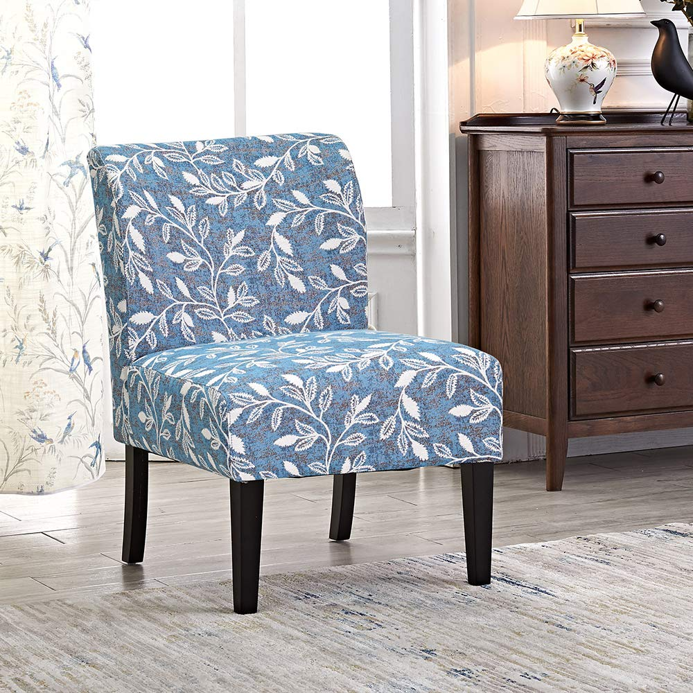 Modern accent chair blue floral stripes polyester fabric urban style upholstered accent decor furniture kitchen living room armless dining side with solid