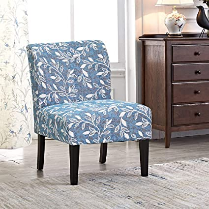 Modern Accent Chair Blue Floral Armless Chairs Stripes Polyester Fabric  Upholstered Decor Furniture Living Room Side with Solid Wood Legs  (Florals(1 ...