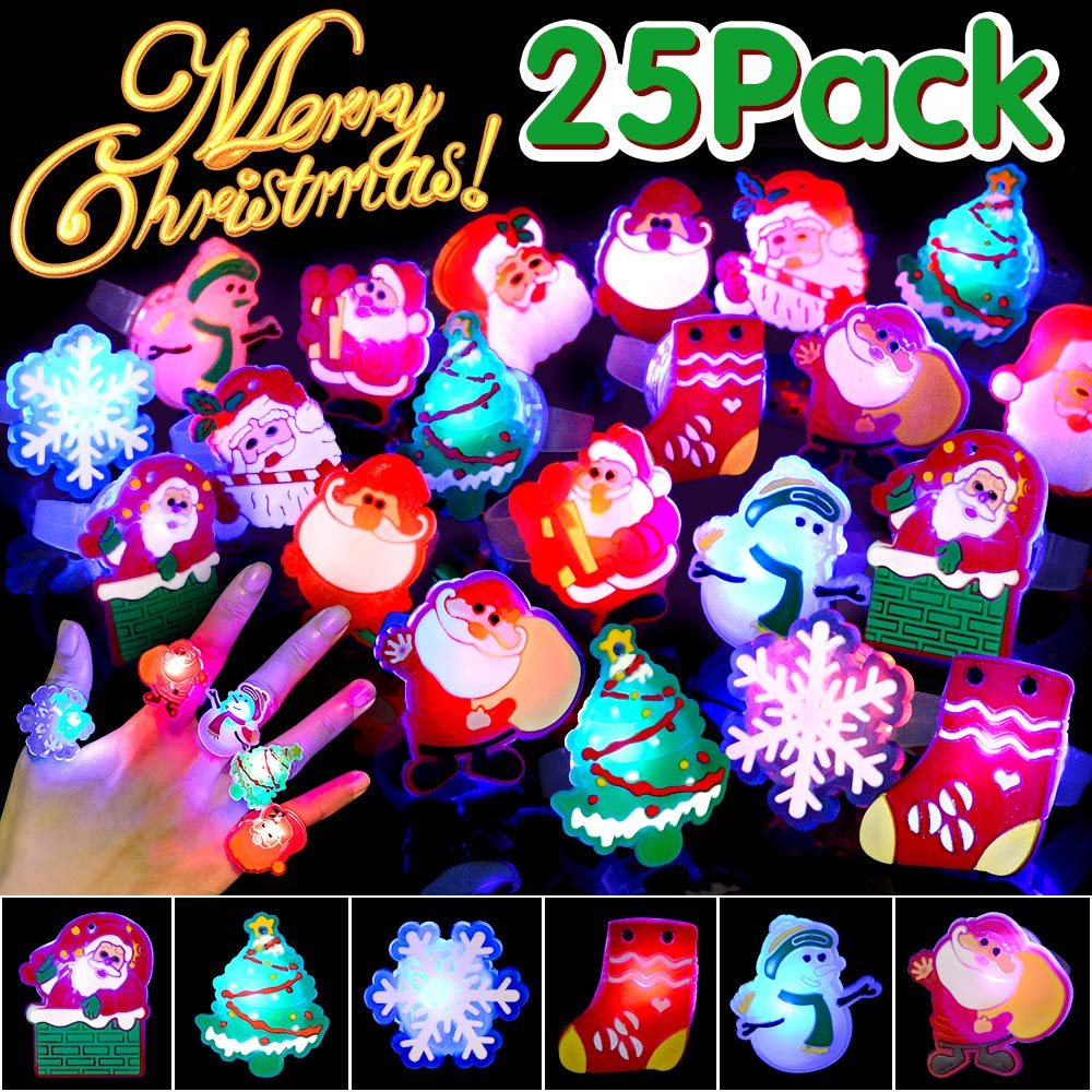 BUDI 25Pcs Christmas Party Favors LED Finger Lights for Kid   Adults Light Up Rings Stocking Stuffers Light Up Toys Rings Party Decorations Assorted Styles with Gift Package