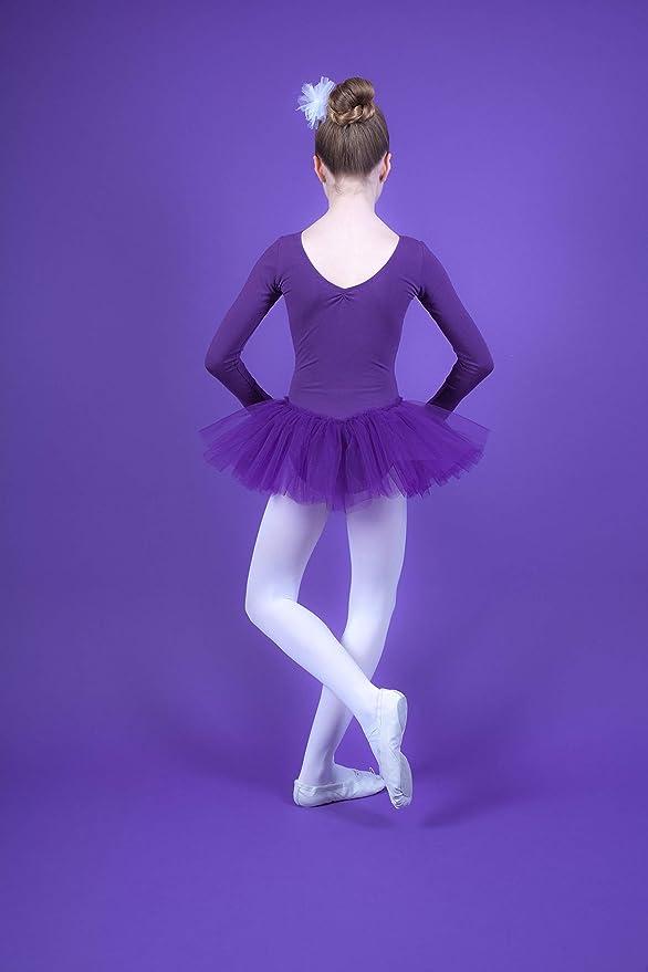 3-lagiger T/üll Gr/ö/ße 140//146 Tanzmuster M/ädchen Langarm Ballett Tutu TrikotRomy mit Strasssteinen 11-12 Jahre aus weicher und strapazierf/ähiger Baumwollmischung lila