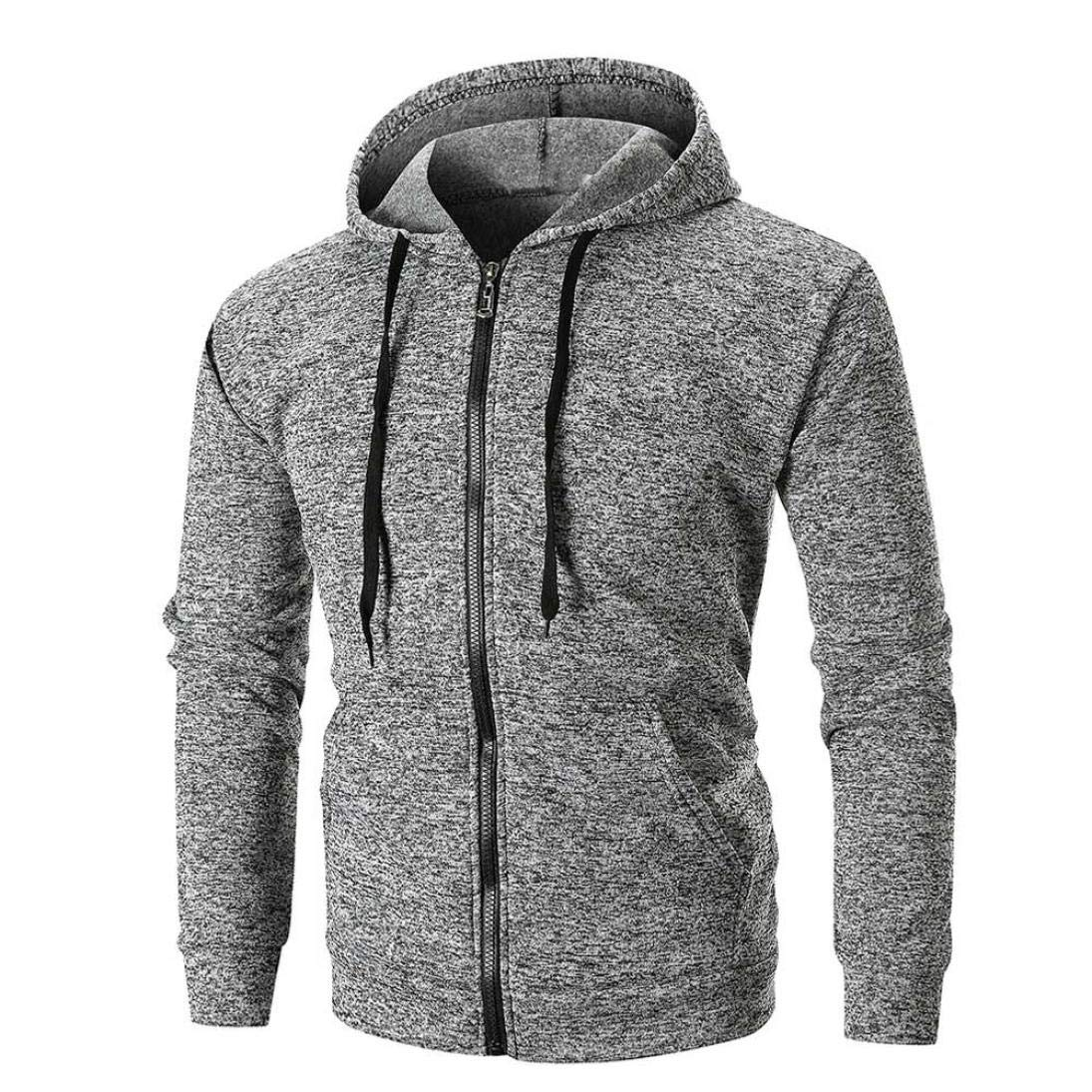PASATO Men's Long Sleeve Solid Hoodie Hooded Sweatshirt Outwear Top Tee Blouse, Classic Clothes(Gray, XL)