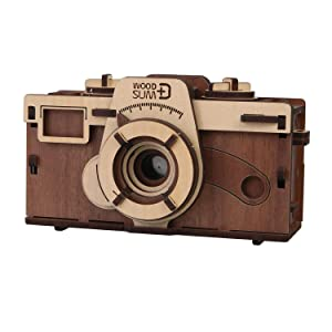 "WHAT ON EARTH DIY Working Wood Pinhole Camera - Uses 35mm Film - 6"" x 2.5"" x 3.25"""