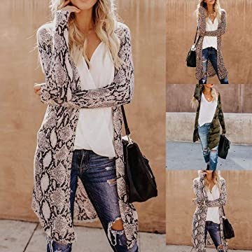 RIBITENS Women Casual Long Sleeve Cardigan Tops Printed Loose Outwear Open Front Cardigans