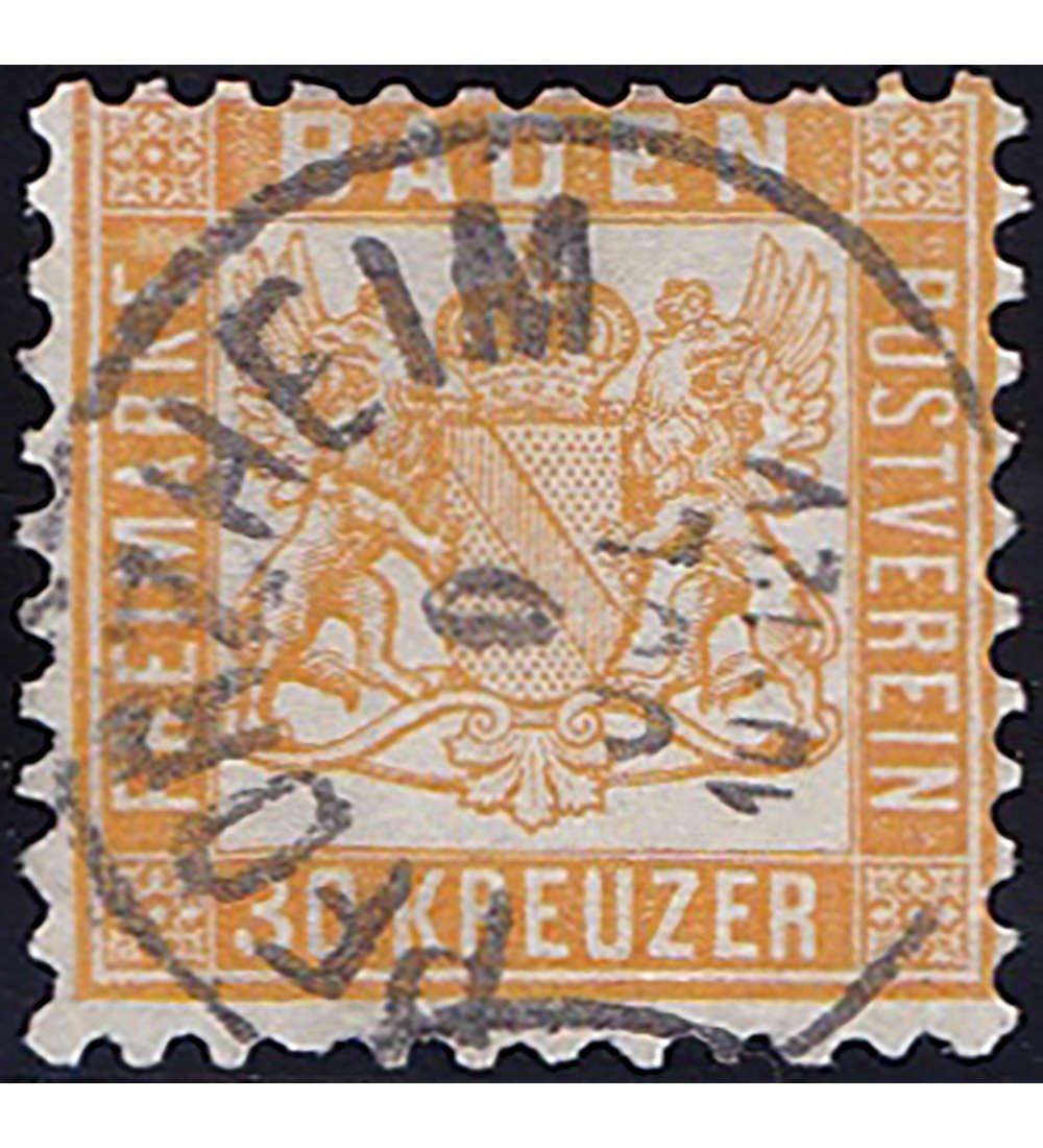 Goldhahn Baden Nr. 22a gestempelt geprüft Briefmarken für Sammler