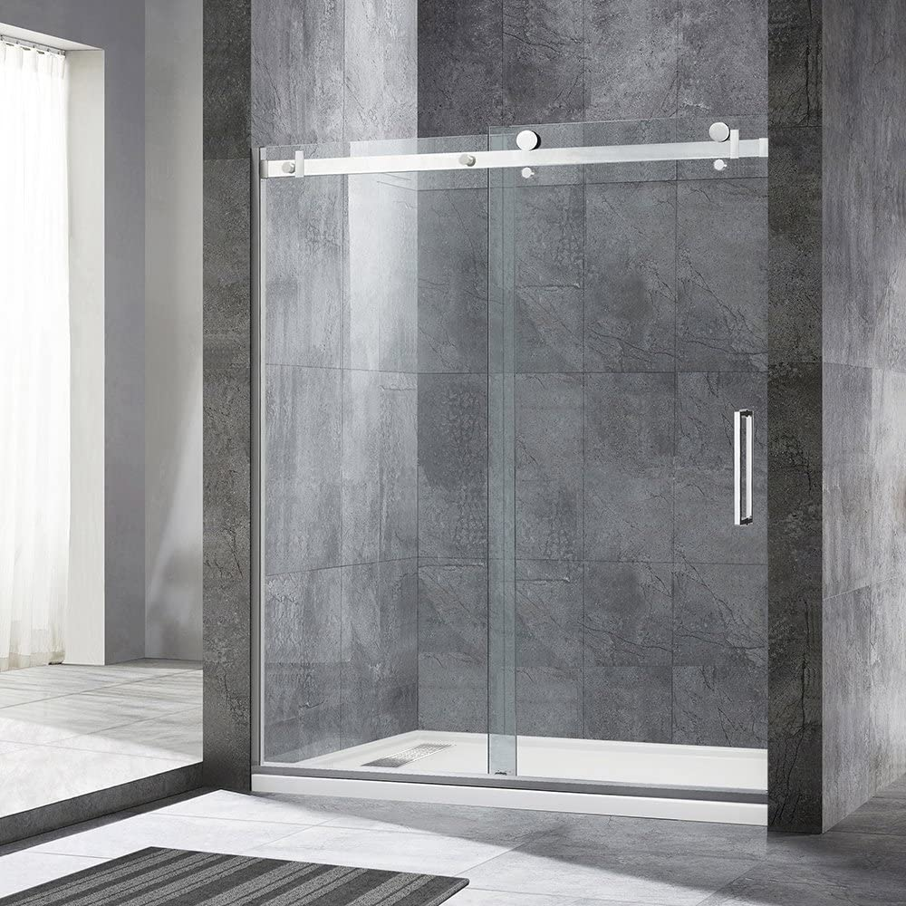 WOODBRIDGE 1 Frameless Sliding Shower, 56 -60 Width, 76 Height, 5 16 inch Clear Tempered Glass, Chrome Finish, Designed for Smooth Door Closing and Opening. MSDF6076-C, F-Series 60 x76