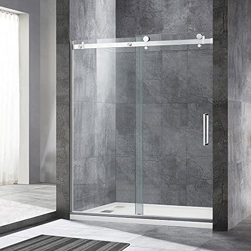 WOODBRIDGE 1 Frameless Sliding Shower, 56 -60 Width, 76 Height, 5 16 inch Clear Tempered Glass, Finish, Designed for Smooth Door Closing and Opening. MSDF6076-C, F-Series 60 x76 Chrome