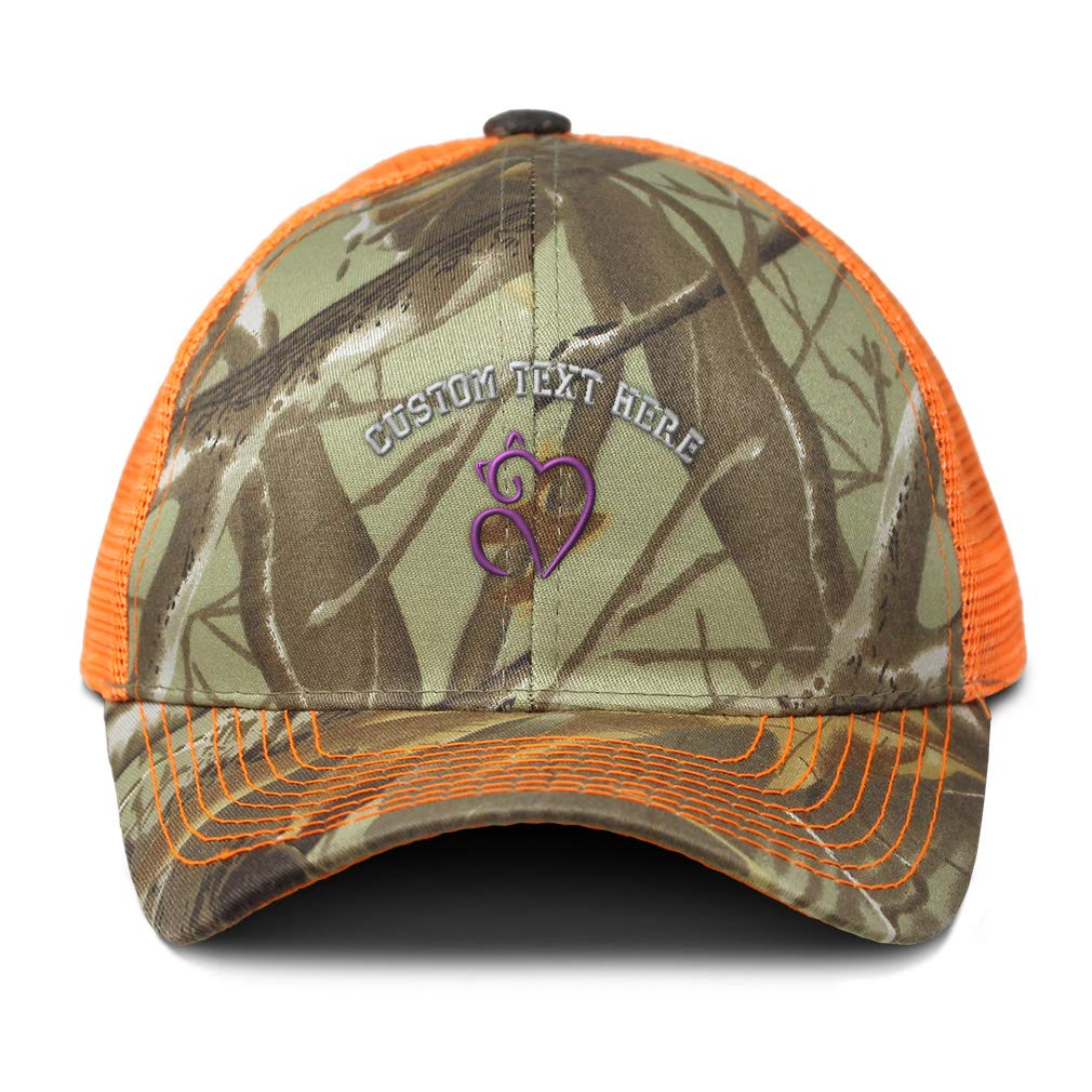 Custom Camo Mesh Trucker Hat Cat Heart Lavender Embroidery Cotton One Size
