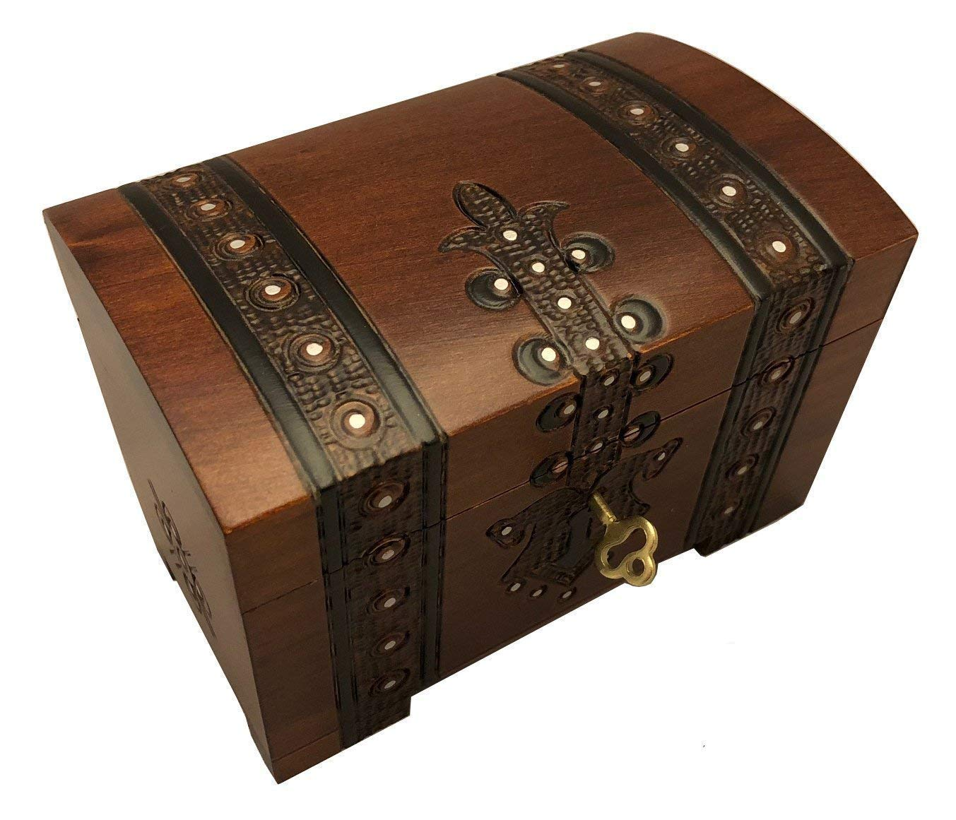 Handmade Wooden Chest Box w/Lock and Key Polish Linden Wood Jewelry Keepsake