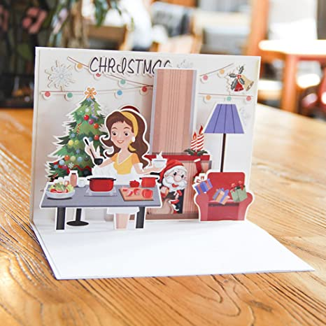 Handmade Christmas Card Images.Paper Spiritz Pop Up Cards Christmas Laser Cut Cards And Envelopes Handmade Christmas Cards For Wife Sister Kids Mum Family Christmas And Happy New