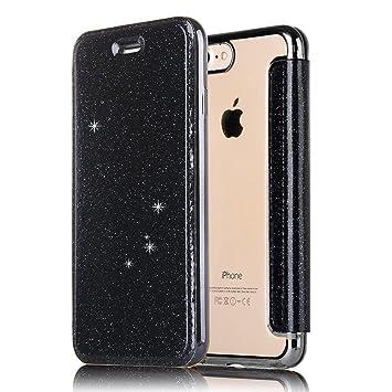 MAOOY iPhone 8Plus Leather Funda, Carcasa Piel Bling Glitter Cierre para iPhone 7Plus, Cubierta Enchapado Claro de Goma Blando Contraportada para ...