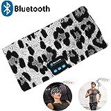 Bluetooth Headband Headphones,Wireless Bluetooth Sleeping Running Music Eeadphones Headband Sports Headset Built-In Speakers Microphone for Calling,Workout, Crossfit, Yoga,Jogging,Leopard-Gray