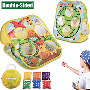 RaboSky Bean Bag Toss Game Toy for Toddlers 2 3 4 5, Double Sided Kids Cornhole Board, Dinosaur & Turtle Themes, 6 Colorful Beanbags, Collapsible Outdoor Games for Kids, Best Gift for Kids and Family