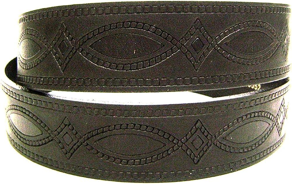 Modestone Western Embossed Leather Belt 1.5 Width 1//8 Thick Black