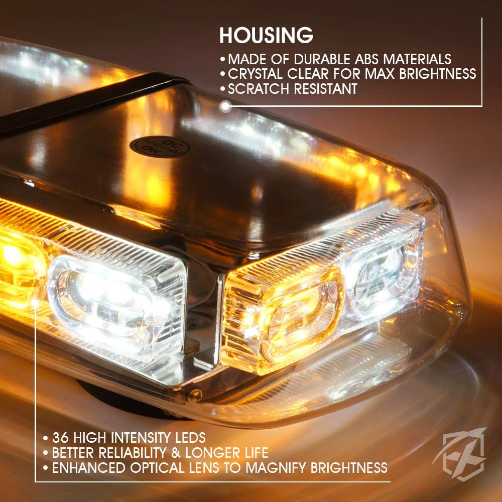 Xprite White /& Amber 36 LED 17 Flashing Mode Mini Bar Strobe Lights Law Enforcement Emergency Hazard Warning Light with Magnetic Base