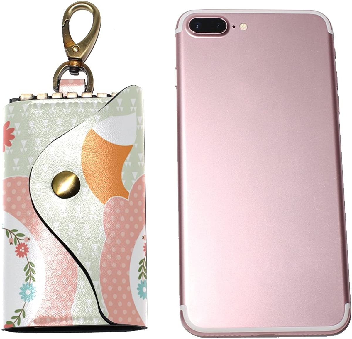 KEAKIA Cute Fox Cartoon Leather Key Case Wallets Tri-fold Key Holder Keychains with 6 Hooks 2 Slot Snap Closure for Men Women