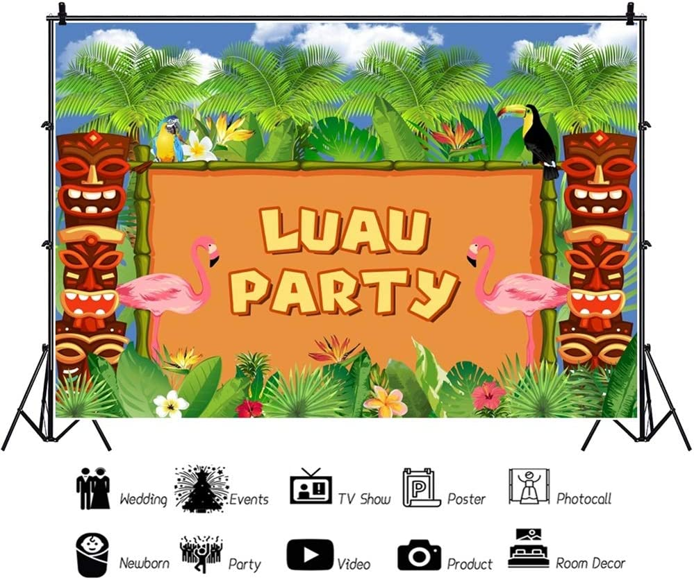 DaShan 10x8ft Tropical Beach Luau Party Backdrop Sea Ocean Wedding Hawaiian Palm Leaves Seaside Birthday Sandbeach Tropical Summer Photography Background Bridal Shower Nautical Photo Props