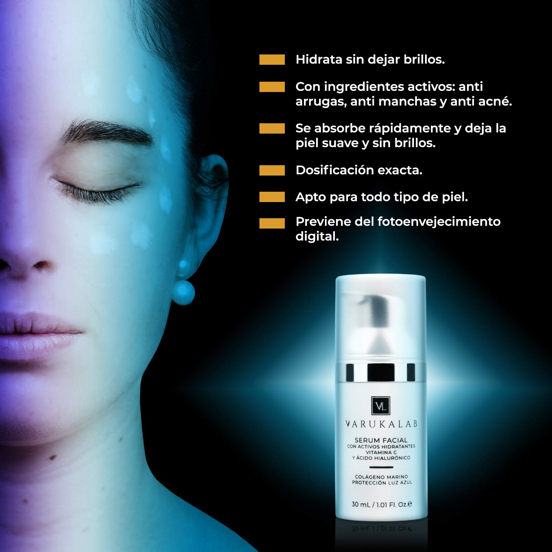 Sérum facial ultra concentrado antiarrugas con vitamina C, ácido hialurónico, colágeno marino y activos hidratantes | Tratamiento de cara antiedad y ...