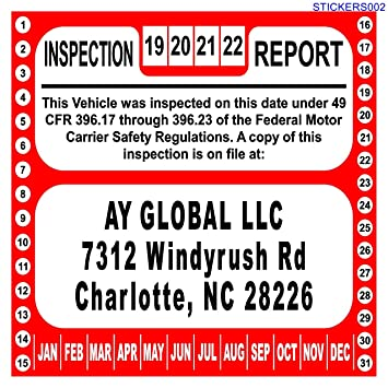 Amazon Com Us Dot Annual Inspection Decal For Fmcsa 49 Cfr