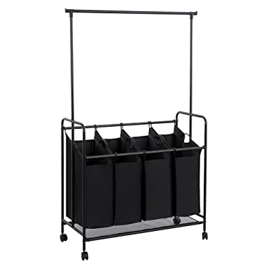 SONGMICS 4-bag Rolling Laundry Sorter with Hanging Bar Heavy-duty with Wheels & Larger Bags Black URLS44B