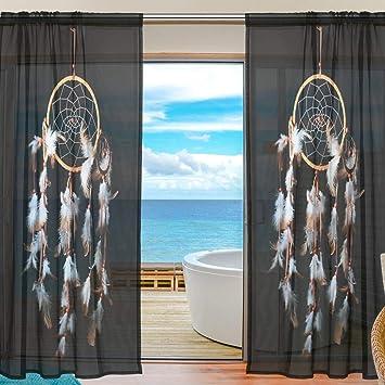 ISAOA Attrape rêves Noir et Blanc Plumes Mode 2 pcs Tulle Rideau Sheer fenêtre Sheer Panneau de Rideau en Voile Porte Sheer Rideaux pour Chambre à