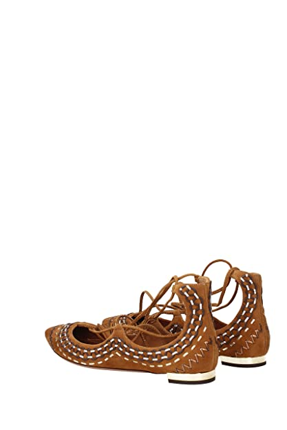 AQUAZZURA Ballerinas Christy Folk Flat Damen - Wildleder (CRFFLAT2SNL884) 39.5 EU
