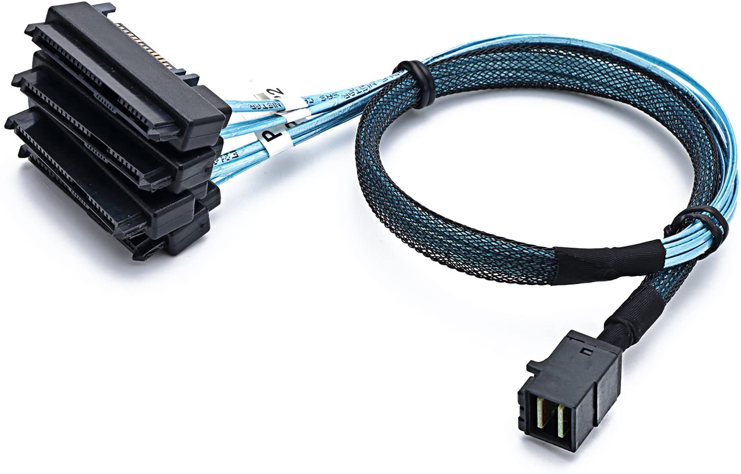 CableDeconn SFF-8643 Internal Mini SAS HD to (4) 29pin SFF-8482 connectors with SAS 15pin Power Port 12GB/S Cable (1M) (H0204)