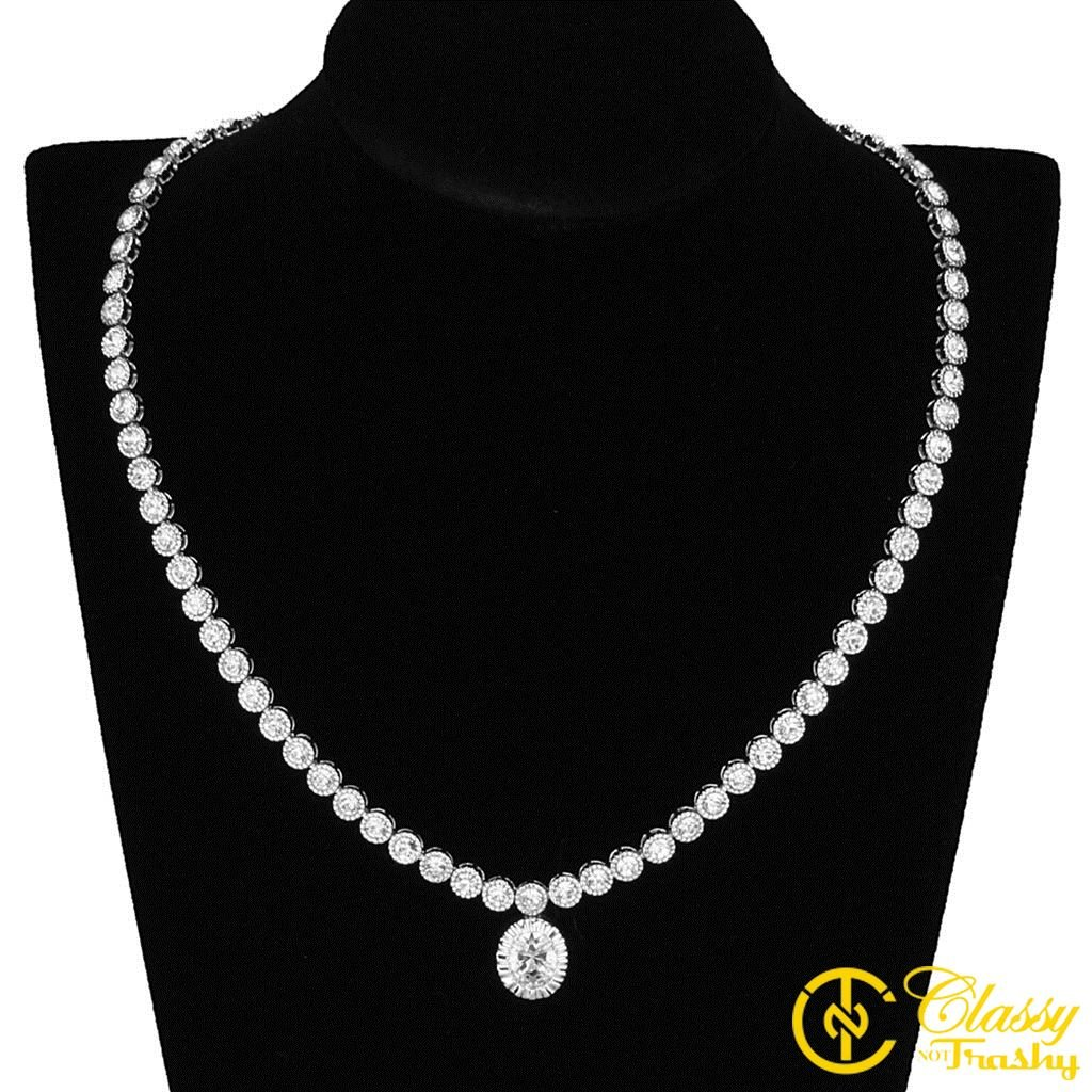 Classy Not Trashy Womens Fashion Jewelry Necklace Sets Premium Grade Brass with Rhodium Finish and Clear Colored Cubic Zirconia CZ Stone