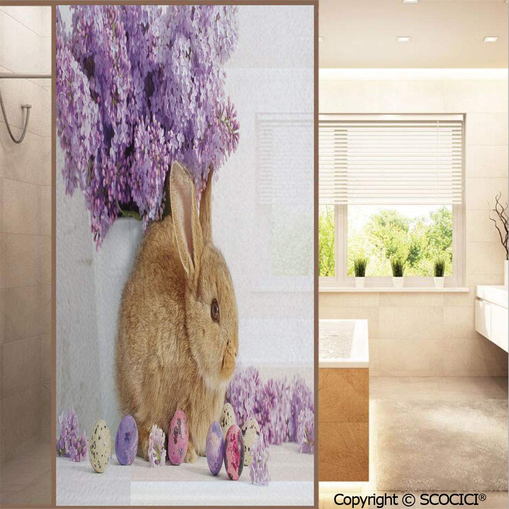 """SCOCICI No Glue Window Films Photo of Rabbit with Lilac Flowers and Easter Eggs Spring Country Style Stained Opaque Glass Stickers Decor Home Hotel Resturant (23.6""""x47.2"""")"""