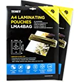 TEXET A4 size Waterproof Glossy Finish Laminating Pouches | Pack of 50 pouches | 150 micron (2 * 75 micron)