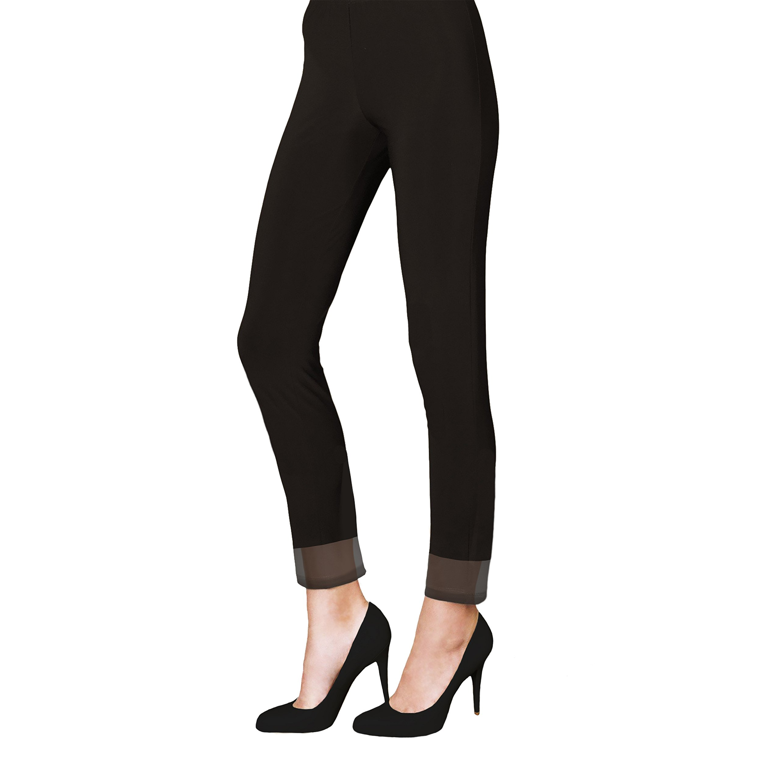 IC Collection Legging With Mesh Border In Black - 5231P (Large) by IC Collection