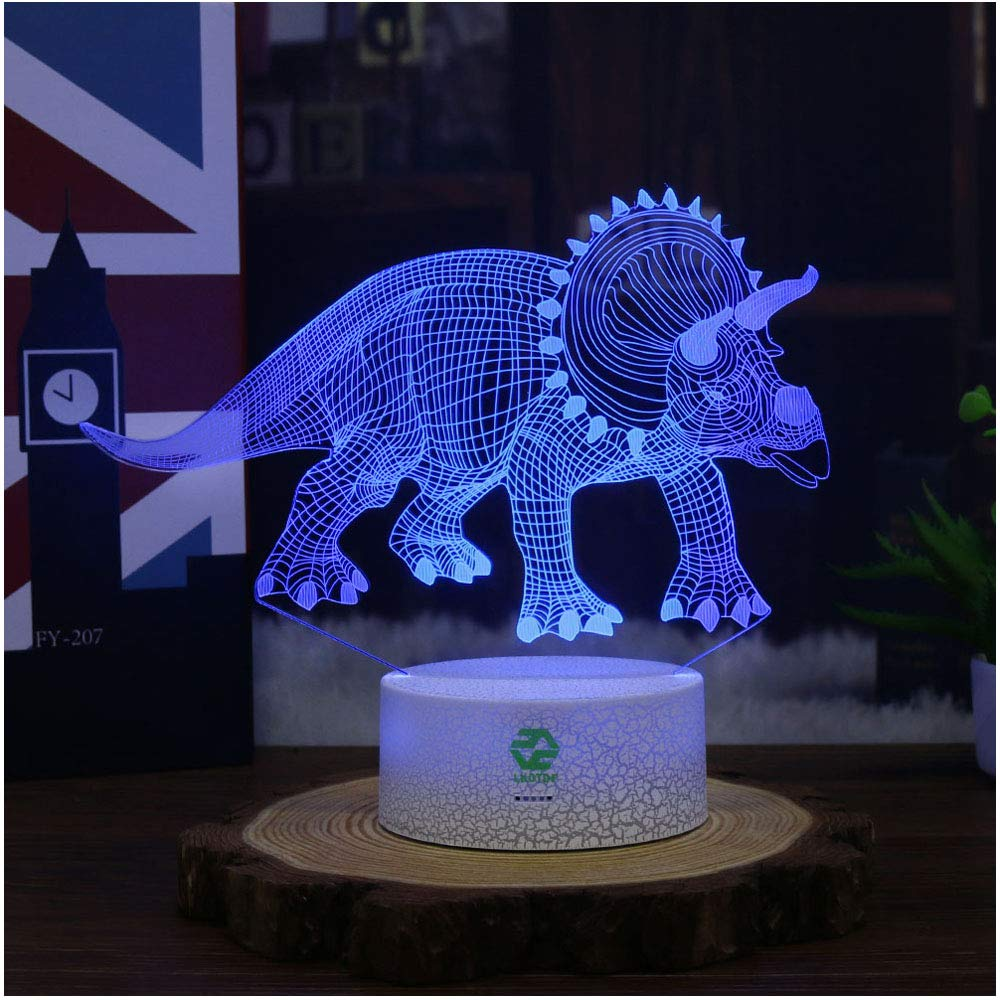 Dinosaur Illusion Night Light for Kids Birthday Gifts Optical Desk Lamp Table Touch Nursery Triceratops Walking Animals Party Western Children Room Decor 7 color Changing USB Crackle New Year Noew You