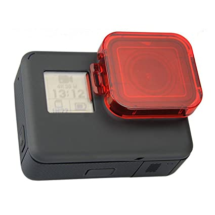 MadridGadgetStore® Filtro Rojo Cubierta Tapa Capucha para Protector de Objetivo Lente Carcasa Bastidor Roja para Cámara Go Pro GoPro HD Hero7 Hero6 ...