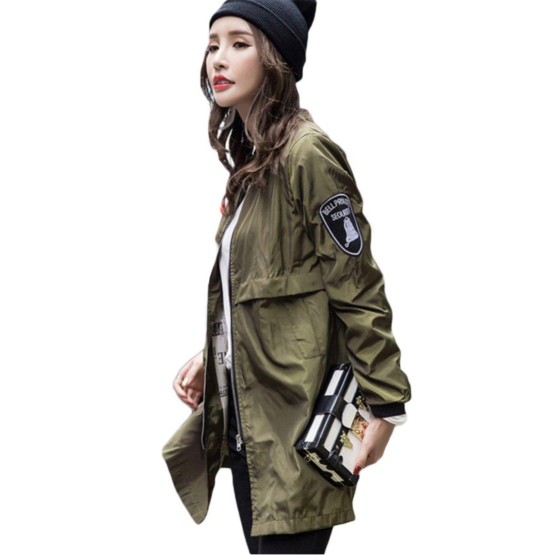 Shining4U Women Bomber Jacket Army Green Casual Harajuku Style Outwear Thin Long Slim Baseball Jacket Women Basic Coats